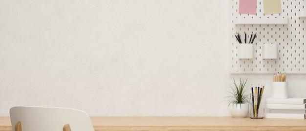 Copiez l'espace pour l'affichage du produit sur une table en bois moderne en frêne avec des décorations de chambre et du papier peint blanc, rendu 3d, illustration 3d