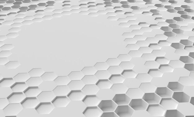 Copiez la surface de l'espace entourée de formes 3d vue de haut
