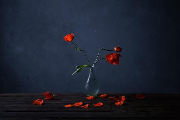 Coquelicots rouges dans un vase sur table en bois sur fond bleu foncé