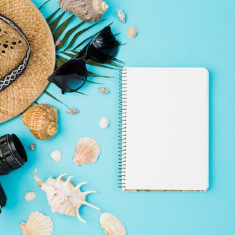 Coquillages et chapeau avec plante près de la caméra et lunettes de soleil avec bloc-notes