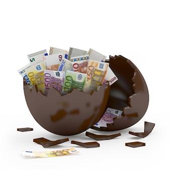 Coquille d'oeuf cassée au chocolat plein de billets en euros