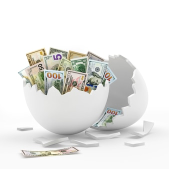 Coquille d'oeuf cassée blanche pleine de billets d'un dollar