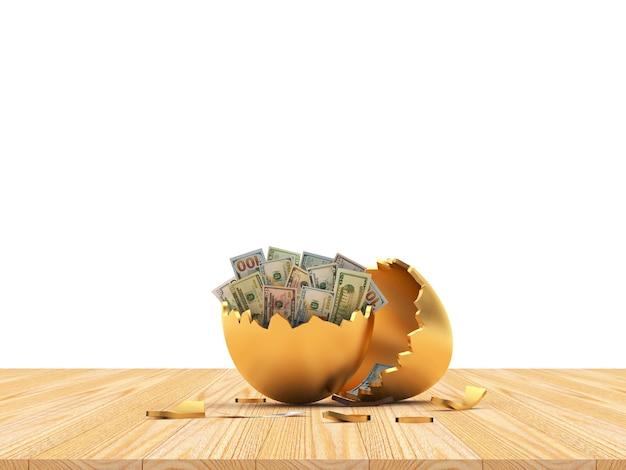 Coquille d'oeuf cassée d'or avec des billets d'un dollar