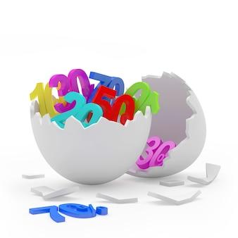Coquille d'œuf cassée pleine de pourcentages de rabais colorés