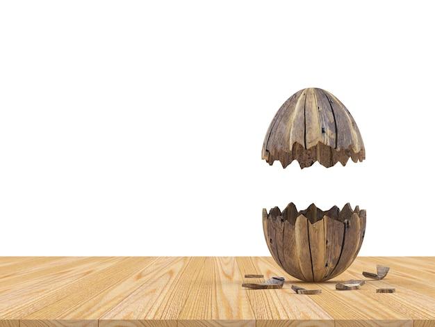 Coquille d'oeuf de pâques cassée verticale en bois