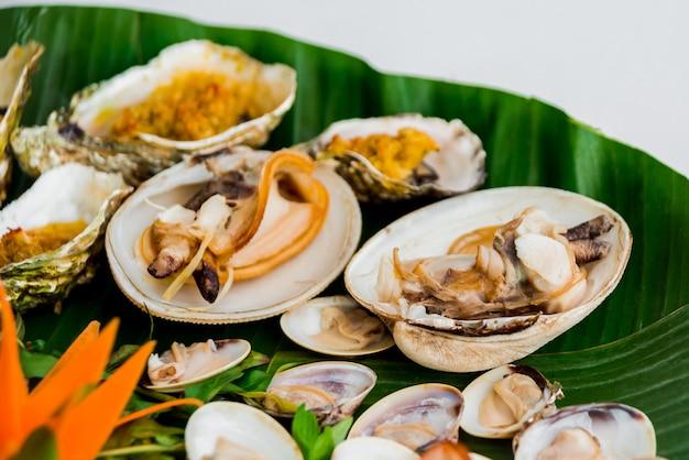Coquilles sur le plat avec la feuille de palmier.