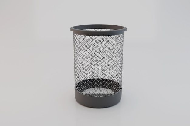 Corbeille à papier en métal noir; poubelle vide; illustration 3d