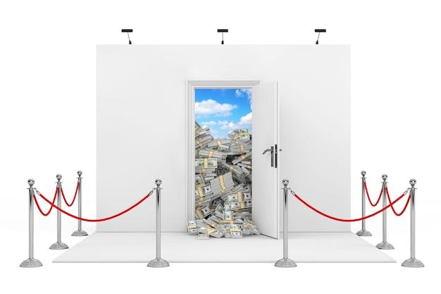 Corde de barrière autour du stand d'exposition avec porte ouverte blanche avec des tas de billets d'un dollar sur un fond blanc. rendu 3d.
