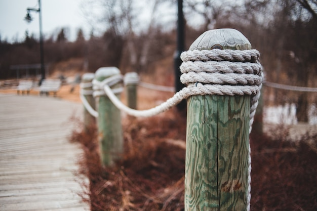 Cordes en borne en bois