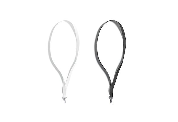 Cordon noir et blanc vierge pour maquette de carte de visite corde d'identité vide pour maquette d'étiquette d'entreprise