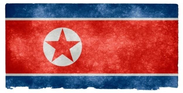 Corée du nord grunge flag