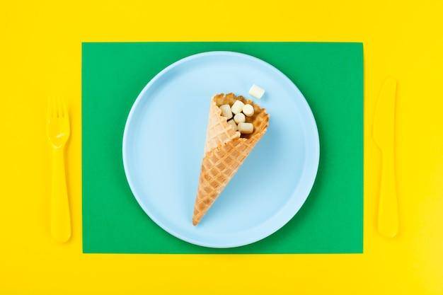 Cornet de glace aux guimauves