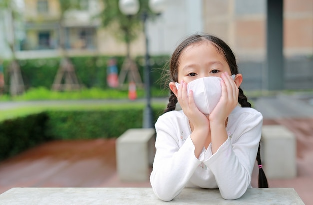 Coronavirus covid-19 et protection contre la pollution avec concept de masque. portrait de petite fille asiatique enfant portant un masque pour protéger le virus corona et la pollution de l'air pm2.5 dans la ville de bangkok, thaïlande.