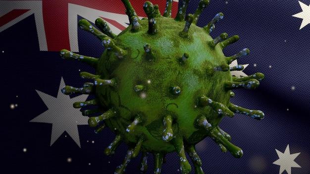 Coronavirus flottant au-dessus du drapeau australien