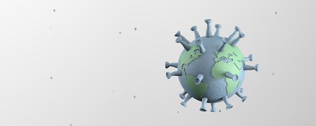 Coronavirus, un virus sous la forme de la terre. copiez l'espace pour le texte. rendu 3d.
