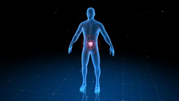 Corps humain numérique avec douleur visible