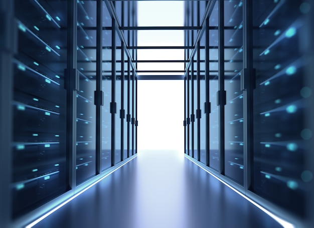 Corridor de la salle des serveurs avec des baies de serveurs dans le centre de données. illustration 3d