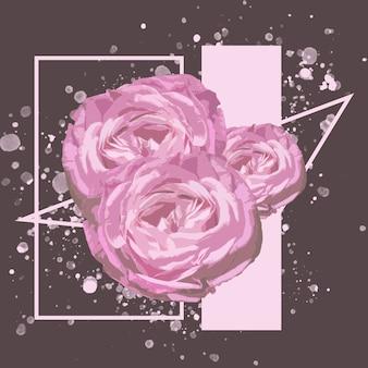 Cosme. illustration aquarelle florale de fleur fantastique dans de belles couleurs. conception géométrique et splash moderne avec fond pour l'annonce. printemps, mariage, carte de voeux de la fête des mères, de la femme.