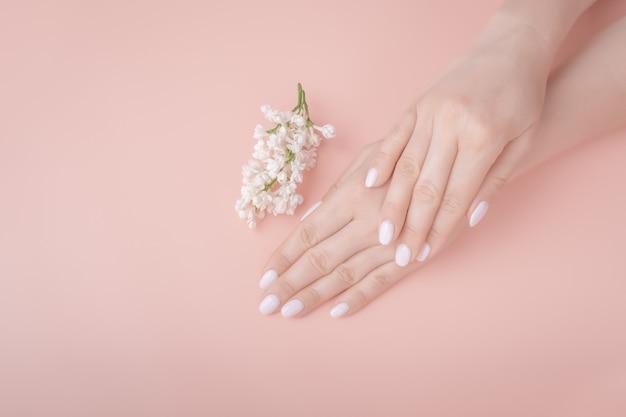 Cosmétique bio. mains féminines sur fond rose, lilas blanc. maquette vue de dessus