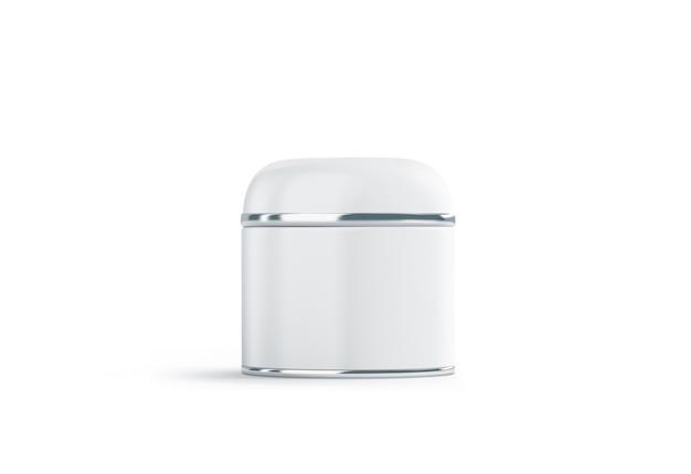 Cosmétique blanc vierge peut se moquer, isolé. maquette de boîte d'esthéticienne vide.