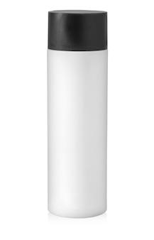 Cosmétique de bouteille en plastique d'isolement sur le blanc avec le chemin de détourage