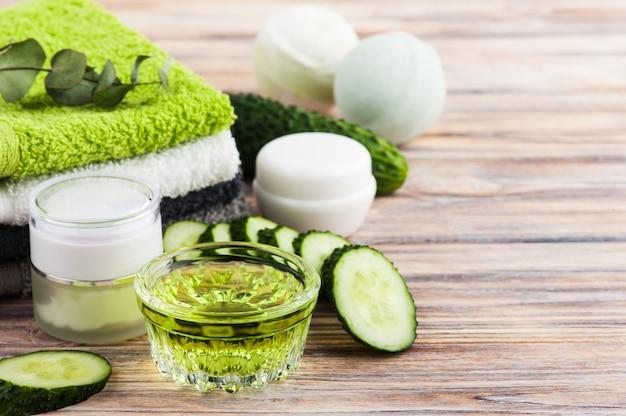 Cosmétiques naturels de concombre, lotion bio