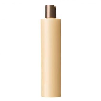 Cosmétiques en plastique beige blanc ou bouteille de shampoing isolé sur mur blanc, pas d'étiquette
