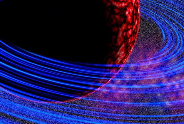 Cosmos. la planète rouge orbite autour de l'orbite bleue. ciel étoilé. astronomie
