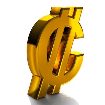 Costa rica colon symboles monétaires couleur or rendu 3d isolé sur fond blanc
