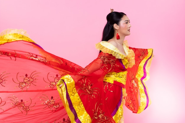 Costume traditionnel chinois opera femme rose