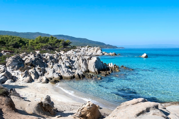 Côte de la mer égée avec verdure autour, rochers, buissons et arbres, eau bleue, grèce