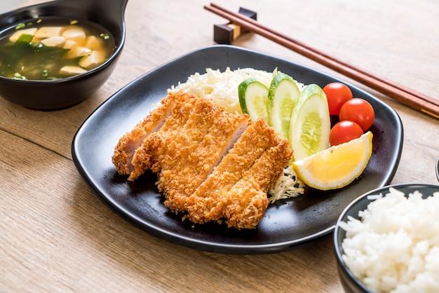 Côtelette de porc frite japonaise (ensemble tonkatsu)
