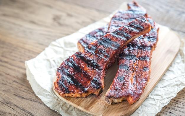 Côtes de porc grillées sur le papier sulfurisé