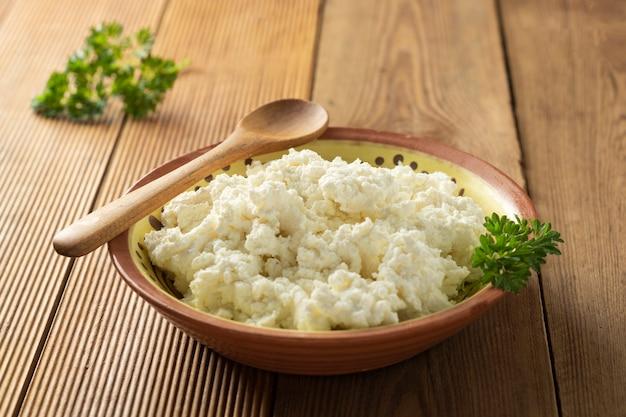 Cottage cheese. produits laitiers, calcium et protéines.