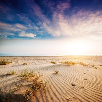 Coucher de soleil coloré sur le mystérieux désert