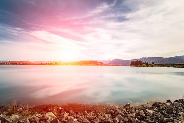 Coucher de soleil dans un lac