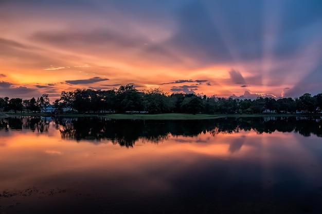 Coucher de soleil et lac