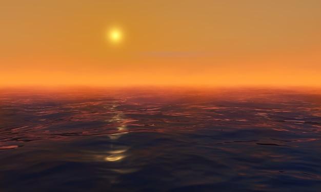Coucher de soleil en mer. lever du soleil dans l'océan. rendu 3d.