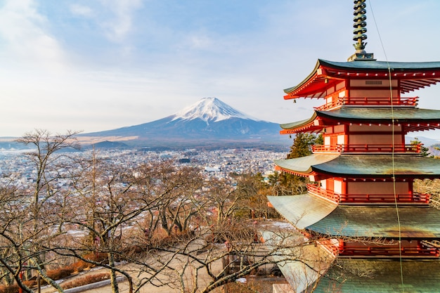 Coucher de soleil sur la montagne fuji, japon