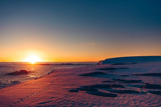 Le coucher de soleil polaire en antarctique.