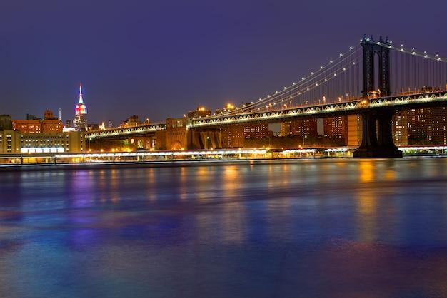 Coucher de soleil sur le pont de manhattan new york ny nyc usa