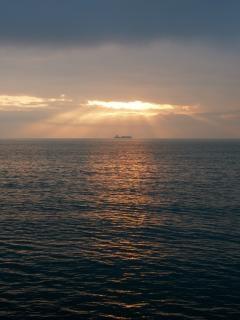 Coucher de soleil, scène, bateau