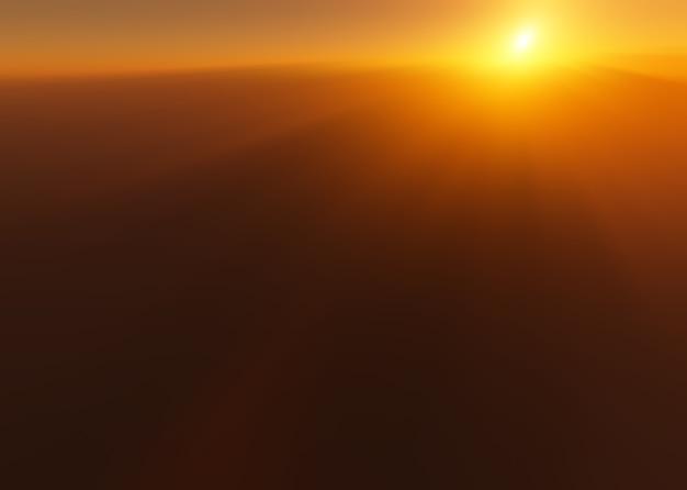 Coucher de soleil spectaculaire à l'arrière-plan flou des montagnes de haute altitude