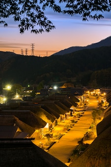 Coucher de soleil, village, ouchujuku, fukushima, japon