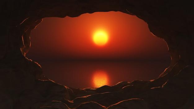 Coucher de soleil vue d'une grotte
