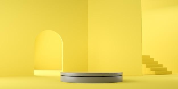 Couleur de l'année 2021. rendu 3d géométrique vide abstrait jaune et gris