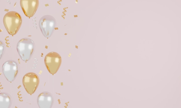 Couleur de ballons roses et blancs réalistes avec ruban et paillettes d'or. célébrez le concept. rendu 3d.