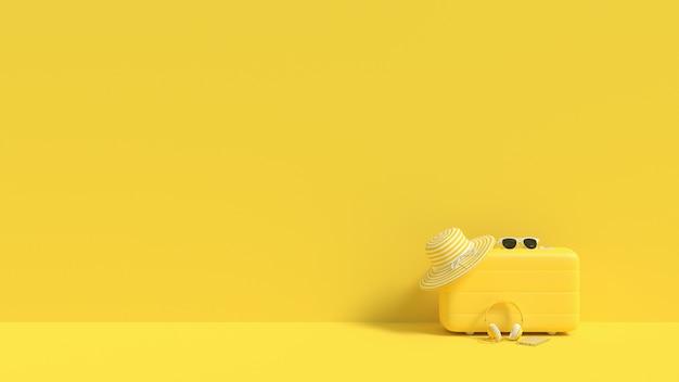 Couleur jaune de valise avec des lunettes de soleil avec le concept d'été de chapeau