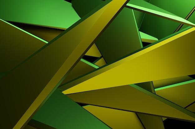 Couleur jaune et vert abstrait fond de technologie de rendu 3d.
