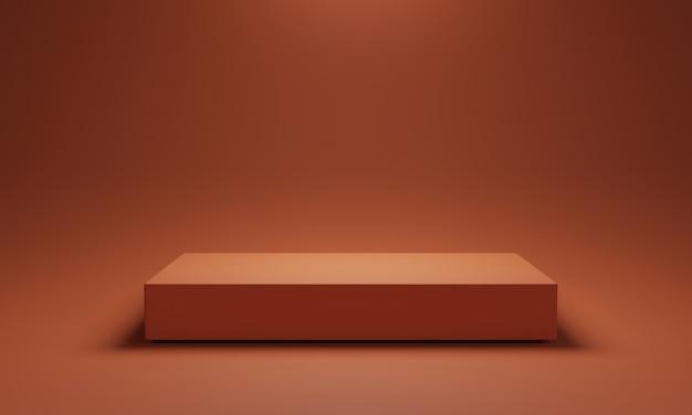 Couleur orange minimale de deux podiums de cubes vierges et arrière-plan pour montrer la présentation du produit, concept technique de rendu 3d.